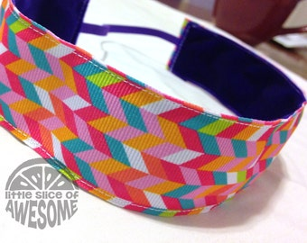 NOODLE HUGGER Non slip ribbon headband - colorful herringbone - 1.5 inch (running, working out, everyday: women and girls)
