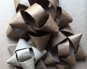 Assorted Kraft Paper Bows, Set of 12 Handmade bows from recycled sources, Add custom finish