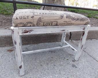 Custom ORDER Only - Burlap Shabby Chic Bench