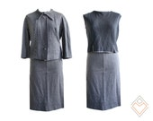 150s - 1960s iby of France charcoal gray matching three-piece set in houndstooth // womens size large // 31 - 32 in. waist