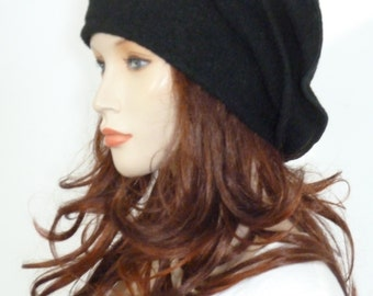 Effortlessly chic lagenlook black boiled wool slouchy beanie hat   NEW