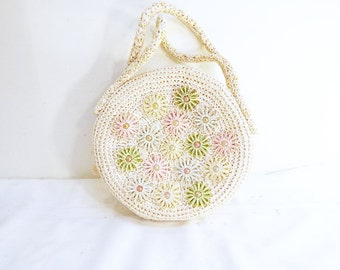 Vintage Woven Raffia Purse Hand Bag Sewing Bag Purse Shabby 1950s