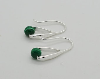 Malachite Sterling Silver Earrings 01