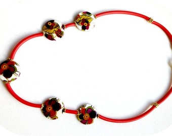 Red & Gold Necklace with Multi-Colored Floral Acrylic Beads