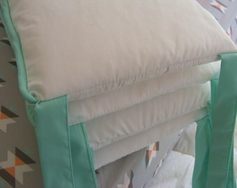 Custom Crib Bumpers / Six Piece / Solid White or Choice with Piping