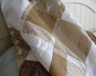 Buffalo Check Patchwork Modern Baby Bedding Crib Blanket Nursery Blanket Quilt Woodland Brown Beige Tan Khaki Deer