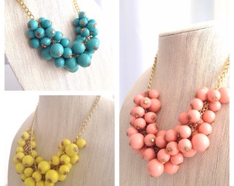Chunky Bubble Necklace Bright Yellow Bib Necklace Statement Bridesmaid Necklace