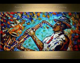 """Saxophone Player Painting  ORIGINAL Modern  Oil Painting on canvas from Paula Nizamas ready to hang 48"""" x  24"""""""