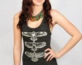 Hawk Totem Maxi dress.......Hand drawn, hand screen printed, charcoal triblend racerback maxi dress with white ink