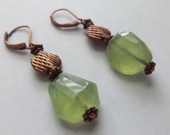 Copper & Prehnite Earrings