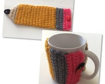 Crochet Pencil Coffee Cup Cozy | Teacher Gift Teacher Appreciation |