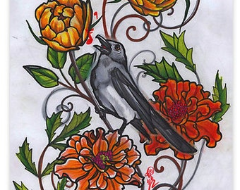 a spring song, a magpie in roses and marigolds