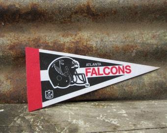 Vintage Football Atlanta Falcons Football Team vtg Football Pennant Banner Flag Stiff Felt Vintage 1990s Era Sports Team vtg NFL Pennant