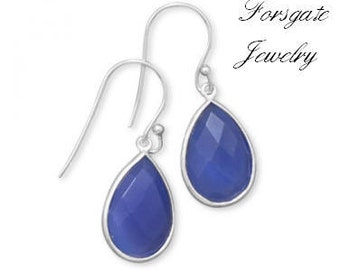 Sterling Silver Blue Chalcedony Gemstone Pear Shape Faceted  French Wire Earrings