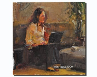 """Western The office girl  portrait Original Oil Panel Painting 6x6"""""""