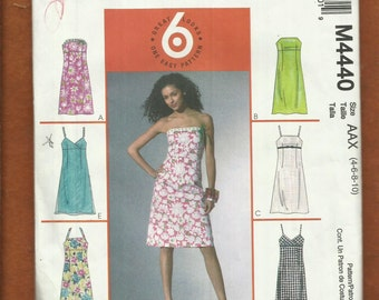 McCalls 4440 Fitted Sun Dress with Your Choice of Straps Size 4 to 10 UNCUT