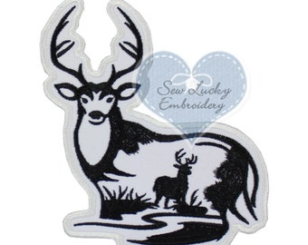 Deer Applique Embroidered Patch , Sew or Iron on