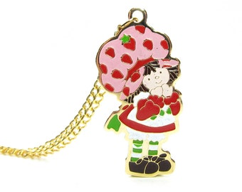 Strawberry Shortcake Necklace Gold Vintage 1980 Enameled Charm Jewelry on Chain