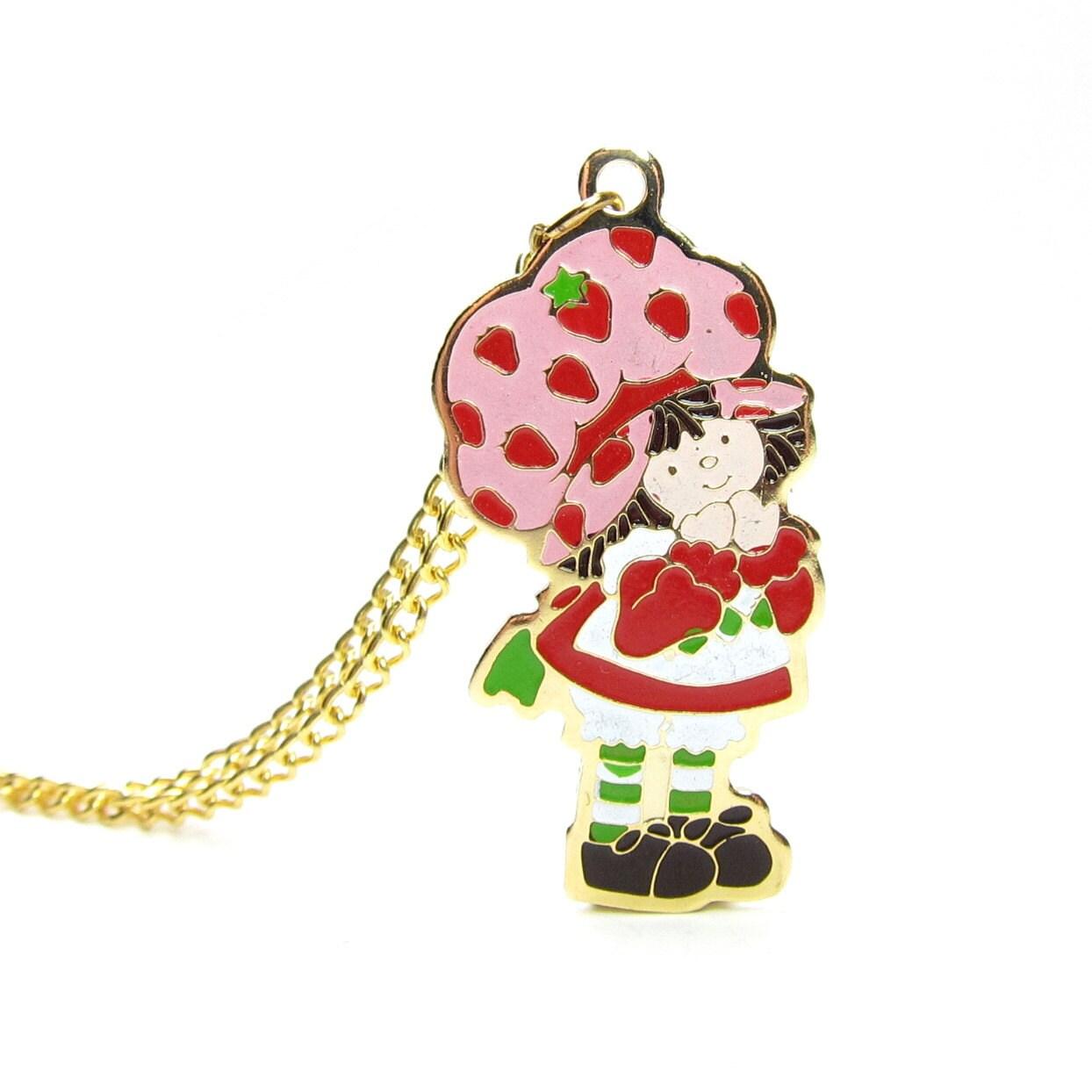 Strawberry shortcake necklace gold vintage 1980 enameled charm for Strawberry shortcake necklace jewelry