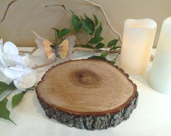 """TREASURY ITEM -  (4) - 8"""" Rustic wood tree slice -Wood slice - Tree slice - Rustic wedding decor - Tray - Trivit - Hot plate - Candle stand"""