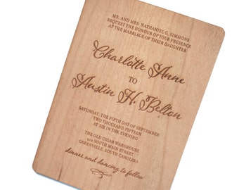 Rustic Wood Invitation with Calligraphy Bride and Groom Names