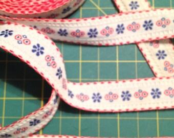 Vintage French Cotton Braid - Navy Red White x one yard