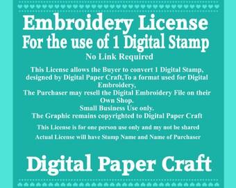 Digital Embroidery License for 1 Digital stamp No Link Back