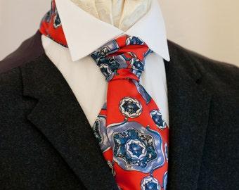 Red and Blue Vintage Italian Silk Cravat Ascot