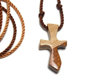 Wooden Cross Necklace - Cherry & Maple Hardwoods - Men's Necklace