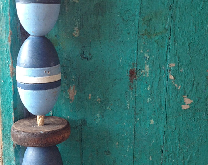 """Beach Decor Vintage 50"""" Dark Blue, Blue, White, Lobster Buoy Nautical Wooden by SEASTYLE"""