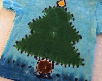 2T Toddler Christmas Tree Tie Dye Tee Shirt
