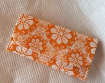 Orange flower wallet, fabric wallet