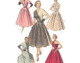 1950s Style Half and Half Dress with Full Circle Skirt Custom Made in Your Size From a Vintage Pattern