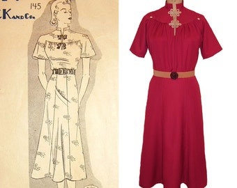 SALE! 1930s Style Burgundy Gaberdine Mandarin Collar Raglan Sleeve Dress Made from a Vintage Pattern size Medium