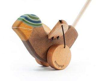 Personalized Wooden Sparrow Toy kids natural push toy