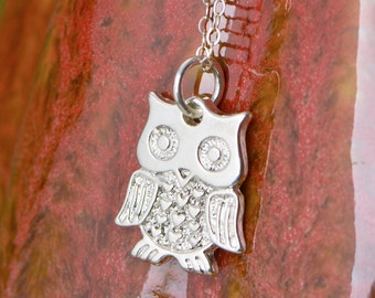 Cute Owl Pendant - Owl Necklace - Sterling Owl - Owl Jewelry - Silver Necklace - Sterling Necklace - Owl Charm