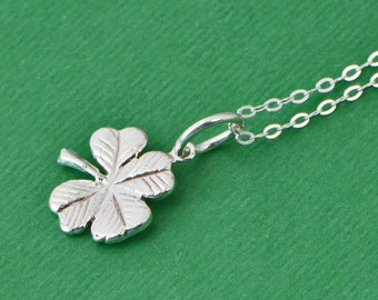 Four Leaf Clover Necklace - Lucky Charm Necklace - Irish Charm - Clover Charm - Lucky Jewelry - Silver Clover