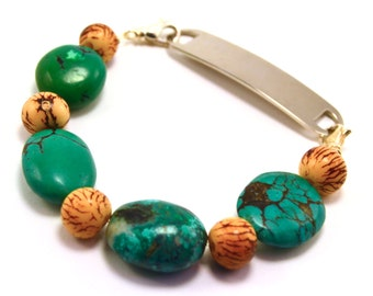 Chunky Turquoise and Brown Medical Bracelet Attachment