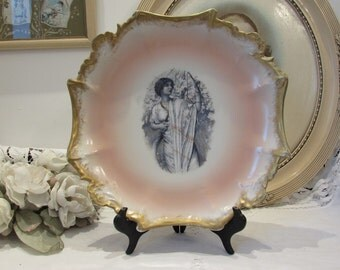 Antique French very large porcelain display plate.  Gorgeous.  Porcelain de Paris.  Paris apartment, cottage chic