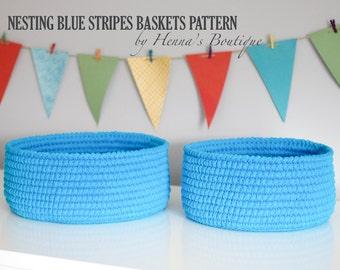 Crochet Basket Pattern - Nesting Blue Stripes Baskets - PDF