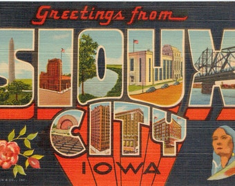 Linen Postcard, Greetings from Sioux City, Iowa, Large Letter, 1946