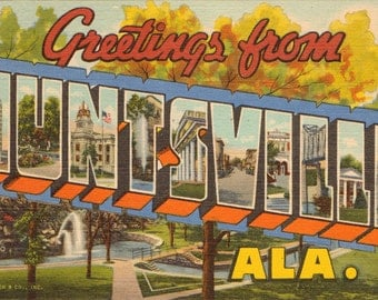 Linen Postcard, Greetings from Huntsville, Alabama, Large Letter, ca 1950