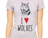 I Love (Heart) Wolves design2 tee shirt - Soft Cotton T Shirts for Women, Men/Unisex, Kids