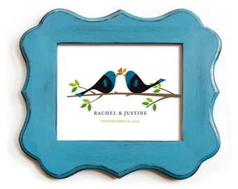 Love Birds Gay Wedding Gift Lesbian Couple Personalized 11x14 Unique Engagement Gift Lesbian Wedding Blue Wedding Decor