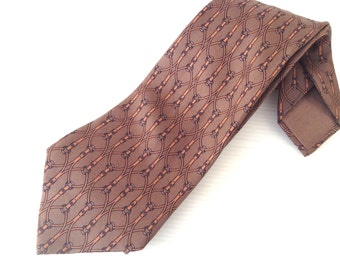 vintage silk HERMES tie, hermes 831 EA, genuine hermes necktie, brown ochre grey belt pattern tie, hermes haute couture, high fashion