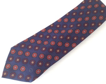 vintage dunhill necktie, dunhill london  tie,  dark blue  tie, red circles pattern, high fashion tie,  made in italy