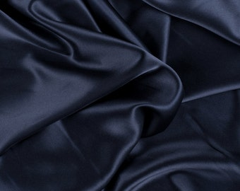 "45"" Wide 100% Silk Charmeuse Navy Blue By the Yard"