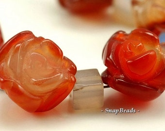 10x8mm Red Agate Gemstone Carved Rose Flower 10x8mm Loose Beads 5 Beads (90190001-92)