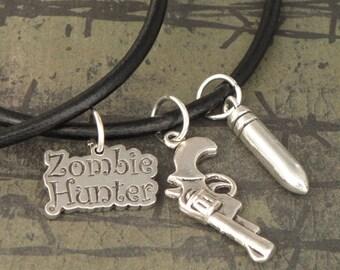 ZOMBIE HUNTER Handgun & Bullet Black Leather Thong Necklace For The Walking Dead Zombie Apocalypse - Men's Unisex Necklace - Handgun Pendant