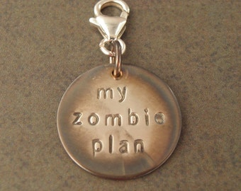 STERLING SILVER My Zombie Plan Clip On Charm For The Walking Dead Zombie Apocalypse - Zombie Survival Kit Jewellery 925 Silver